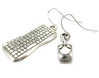 COMPUTER EARRINGS, 925 Silver French Hooks, Computer Engineer, Software Programmer, Network Administrator, Internet Technology Gift Under 20