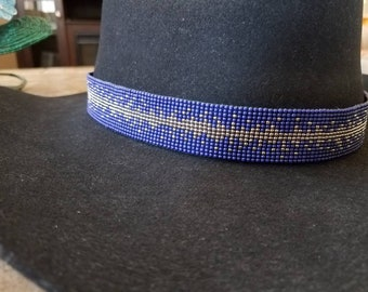 Midnight sky, navy blue and silver handmade beaded cowboy hat band