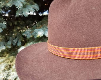 Fall colors orange, brown and dark red beaded hat band