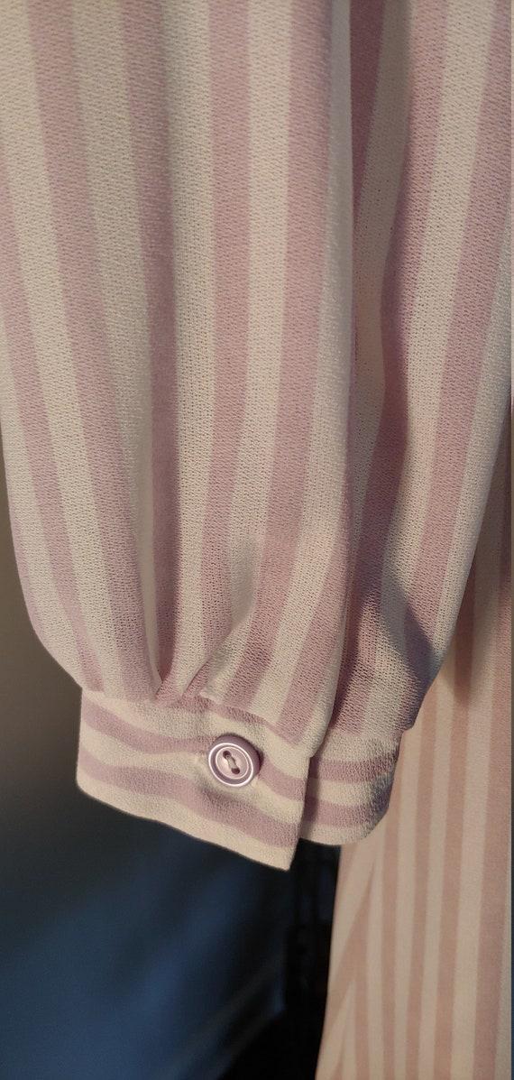 Vintage 1970s Shirt Dress - white/lavender stripe - image 5