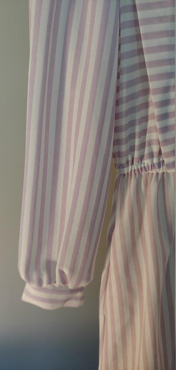 Vintage 1970s Shirt Dress - white/lavender stripe - image 4