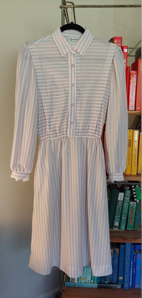 Vintage 1970s Shirt Dress - white/lavender stripe - image 1