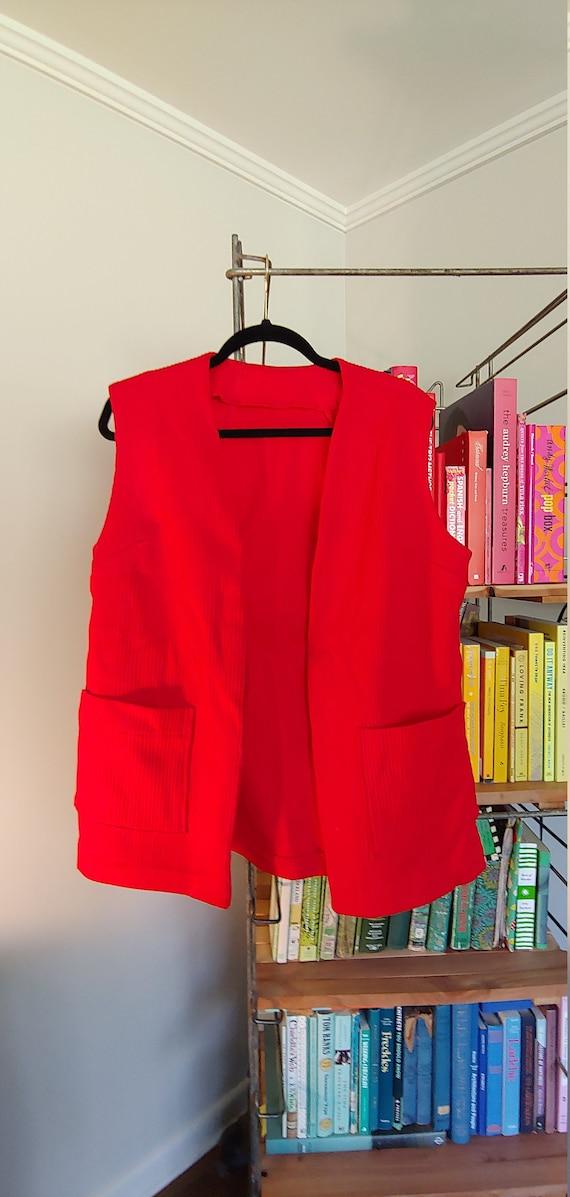 Vintage 1970s handmade cherry red vest