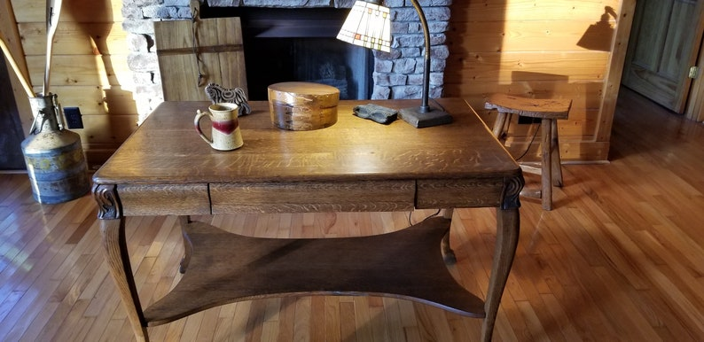 An Antique Quarter Sawn Oak Larkin Library Table/Desk, Library Table, Wood  Console Table, Computer Table, Entryway Table, Oak Table