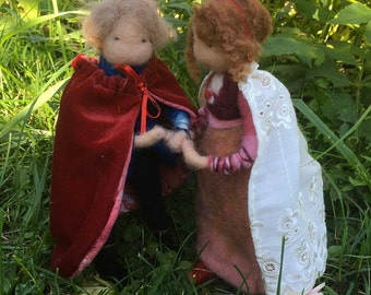 Needle Felted-Waldorf Inspired dolls, prince and princess, royal couple
