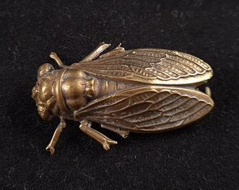 Vintage Early 20th Century French Metal Cicada Insect Bug Brooch Pin, Jewellery/Jewelry, Gift