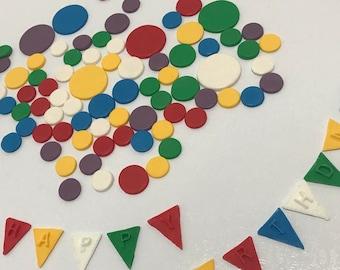Edible fondant Polka Dots and Happy Birthday