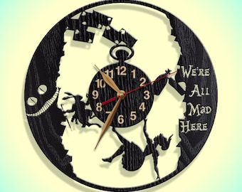 Clock Alice in Wonderland BIG Wood Non-ticking LARGE 12-16-18inch, Rabbit Hole, Wall Art Decor Gift.#6-NOP-p05-D1