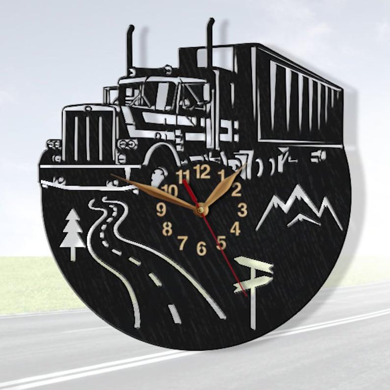 Wall Art Decor LARGE 13 or 18 inch Gift #168 Semi Truck Clock Trucker BIG Wood non-ticking Driver Trailer