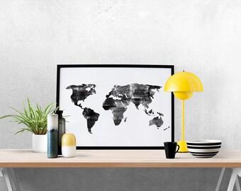 Watercolor World Map, World Map Print, World Map Art, Nursery Decor, Travel Nursery, World Map Painting, Engraved World Map, Black and White