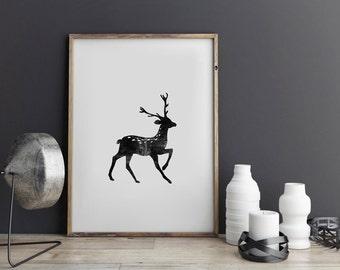 Deer Wall Art, Deer Print, Deer Antlers Print, Black Deer, Black White Print, Nature, Watercolor, Silhouette, Minimalist, Black and White