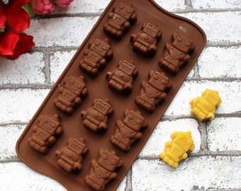 Robot Robo Silicone DIY Mold to make Soap Candle Chocolate Candy Tray Mold ICE Party maker  mould