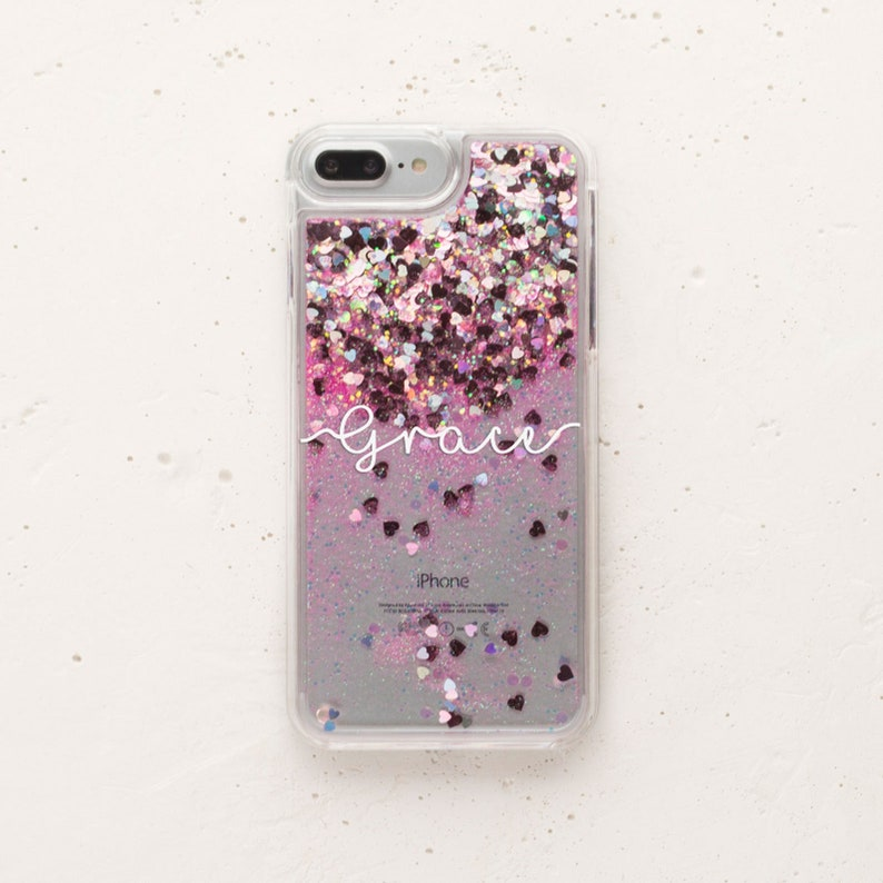 buy online bfde1 195c7 Golden Glitter iPhone X Case Hearts iPhone 7 Plus Case Stars Clear Glitter  iPhone 8 Case Liquid Glitter iPhone 6s Glitter iPhone 6 WC1407