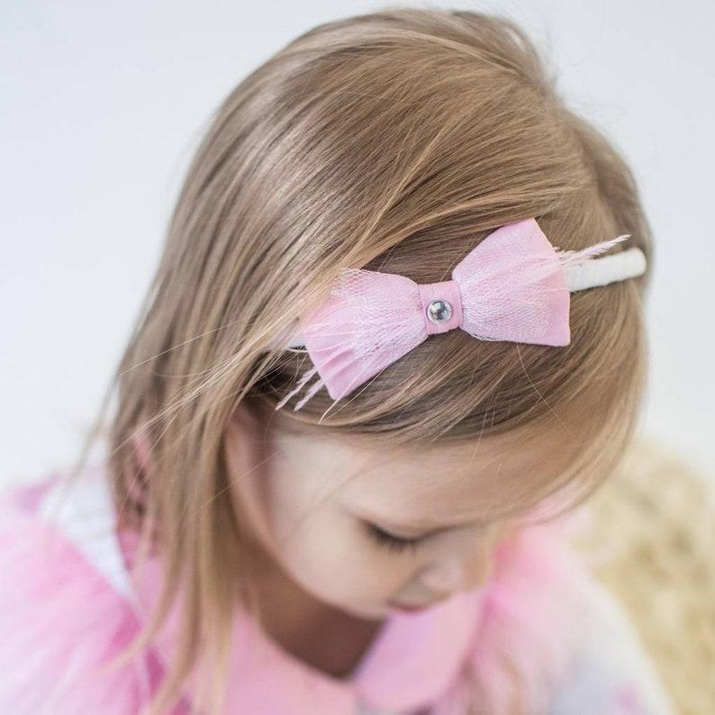 Pink Tulle Feather Crystal Bow Girl Headband Hair accessories Birthday Princess headband Unique head piece Bow hair piece Girl gift