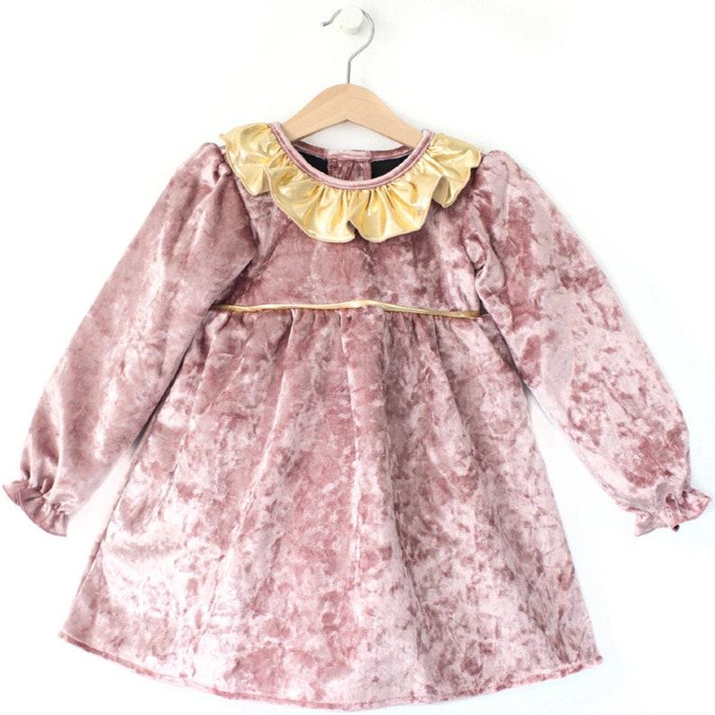 Princess dress Velvet dress Girls party dress Toddler dress Frill dress Birthday party Dusty Rose Velvet Girl Long Sleeve Girl Dress