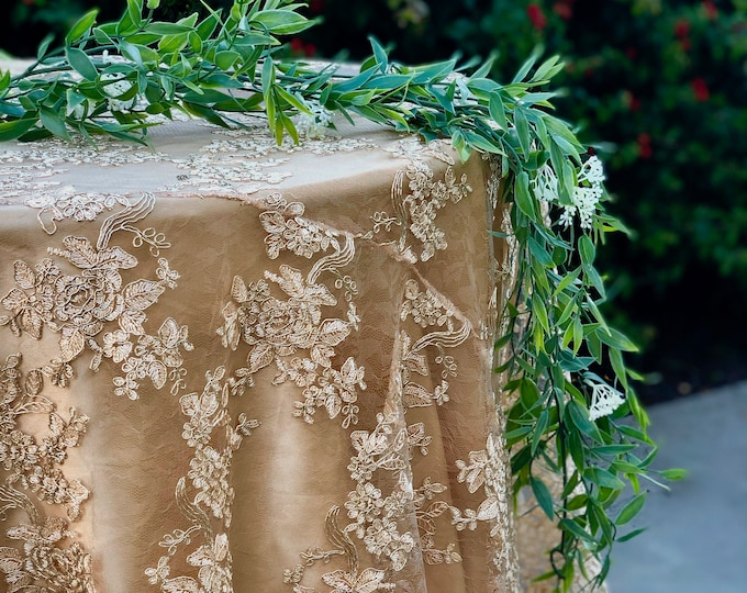 vintage wedding table cloth, gold tablecloth, overlay,lace tablecloth, table runner, embroidered lace, gold table overlay, silver, SALE