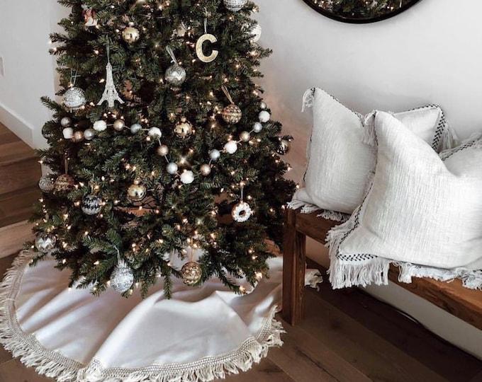 Fringe Tree skirt, Christmas tree skirt, tree skirt, burlap Christmas tree skirt, burlap tree skirt, Christmas decor, tree skirt, burlap