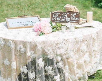85 inch ChampagneBlush Lace Table Overlay Wedding Table Overlays