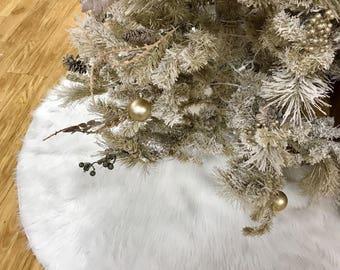 faux fur christmas tree skirt white faux fur tree skirt fur tree skirt white christmas tree skirt 60 inches diam christmas decor tree - Christmas Tree Skirts Etsy