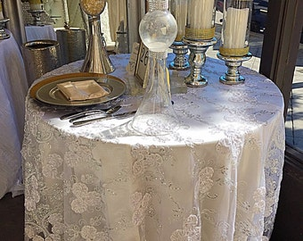 White Embroidered Lace With Silver Sequence Overlay,lace Tablecloth, Table  Runner, Gold Table Overlay, Ivory Tablecloth, Wedding Decor