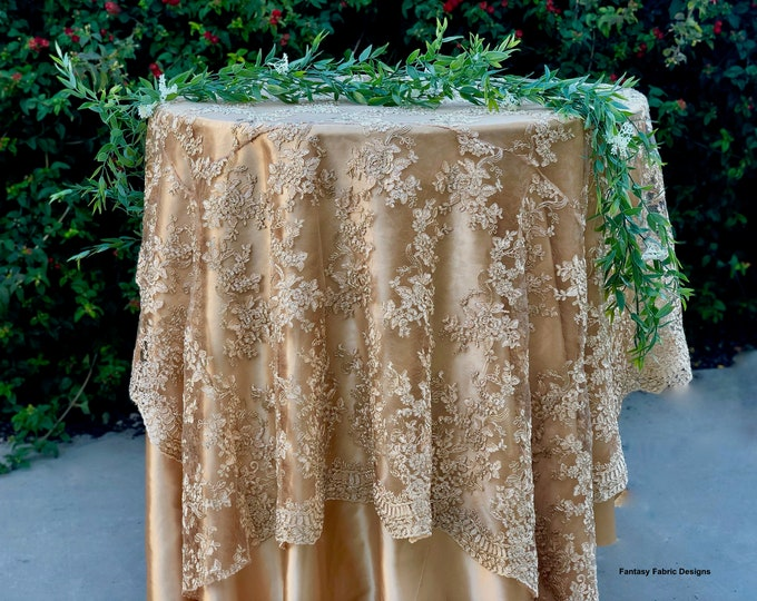 SALE!! Gold embroidered lace table runner, gold tablecloth, table overlay, home decor, weddings.