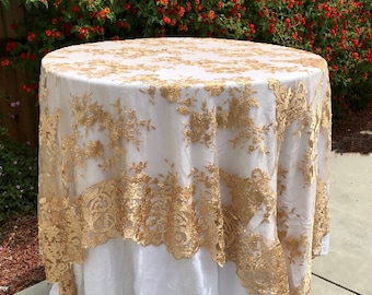 Lace Tablecloth, Blush Lace Overlay, Wedding Decor, Table Cloth, Lace Table  Overlay, Wedding, Wedding Table Cloth, Table Overlay, Party