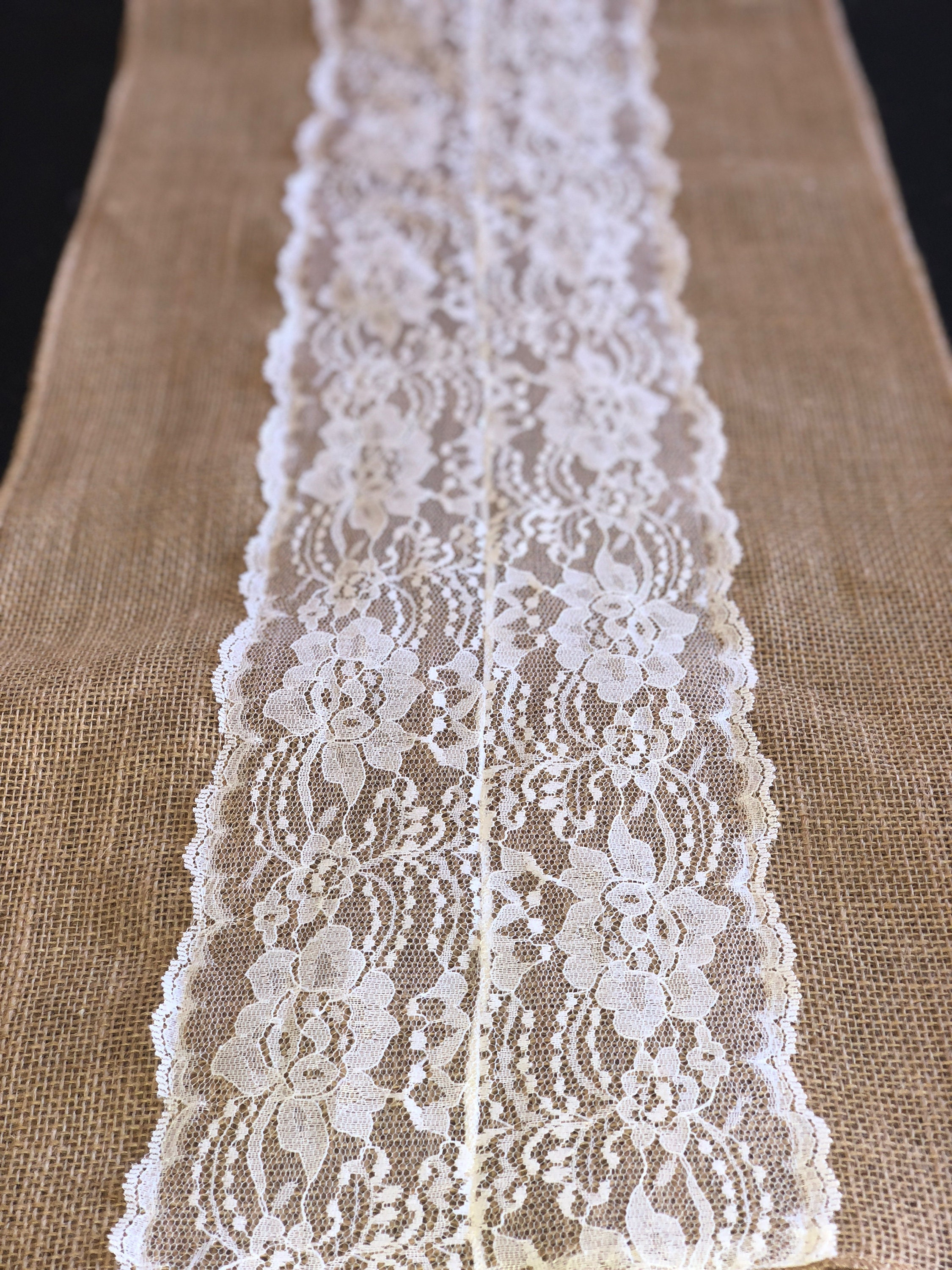 Graduation, Graduation Decor, Burlap Table Runner With Lace For Dining Table,  Wedding, Party, Or Bridal Shower. Rustic Decor.