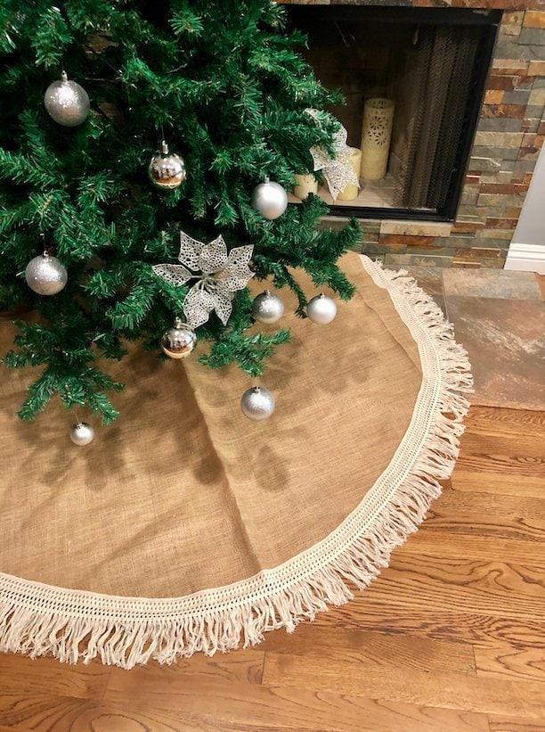 fringe tree skirt christmas tree skirt tree skirt burlap christmas tree skirt burlap tree skirt christmas decor tree skirt rustic - Burlap Christmas Tree Skirt