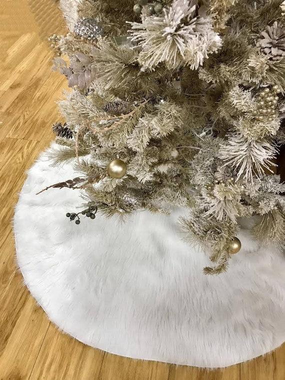 Christmas Tree Skirt White Faux Fur Tree Skirt Fur Tree Etsy