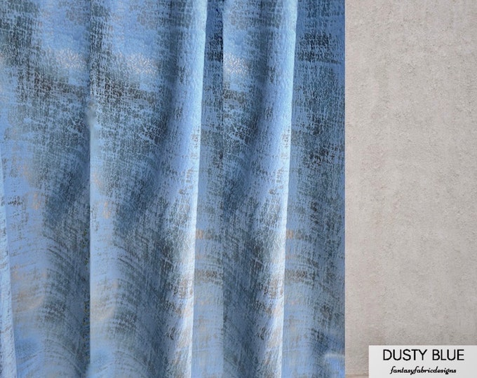 Velvet Marble Jacquard Curtains, Custom Window Curtain Panels, Curtain Panels, Blackout Curtain, Dining Room Curtain, Bedroom Curtain, Drape