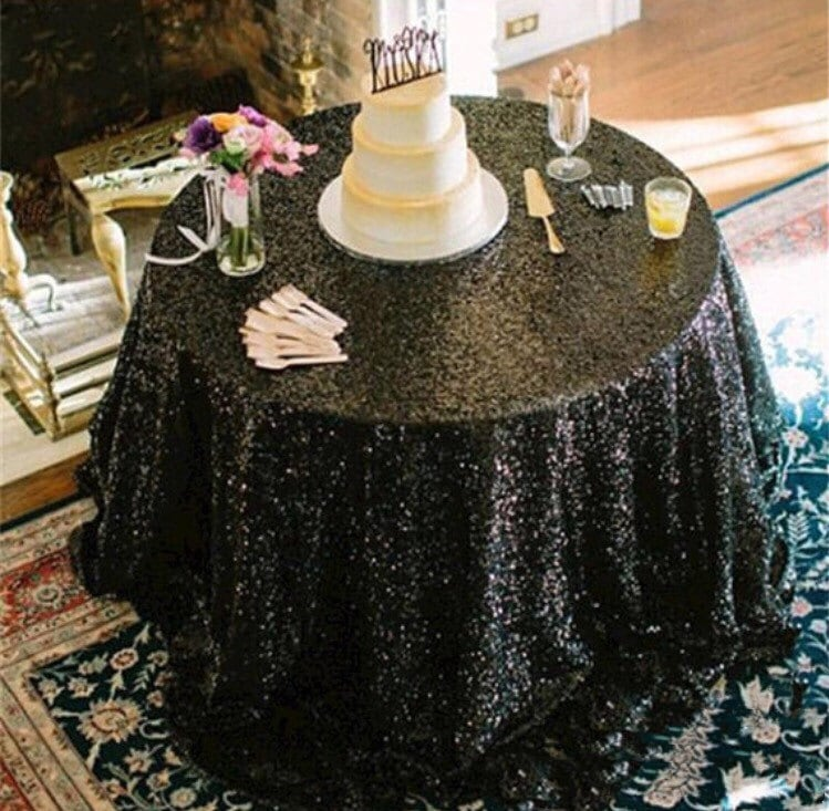 Black Sequin Tablecloth Sequence Table Cloth Table Runner