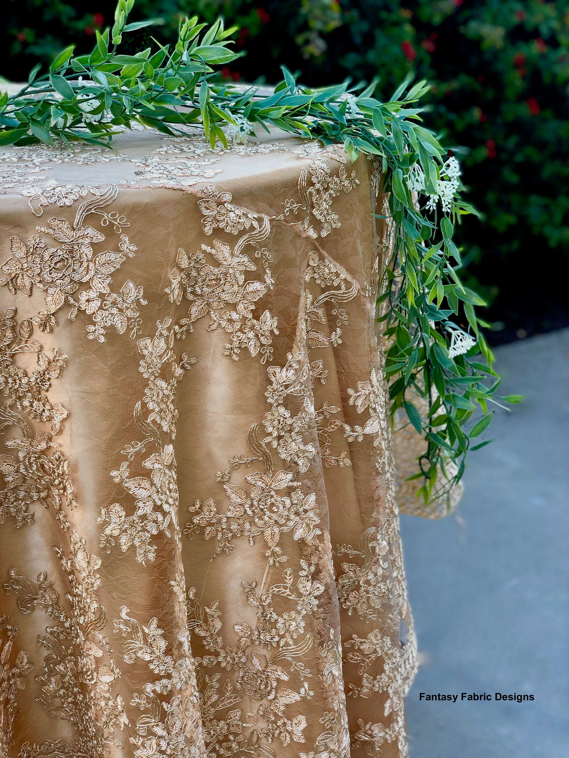 Vintage Wedding Table Cloth Gold Tablecloth Overlay Lace Runner Embroidered Silver Sale