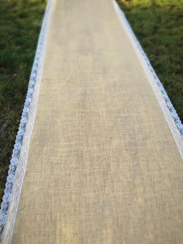 Sale Wedding Burlap Aisle Runner With Scalloped Ivory French Lace