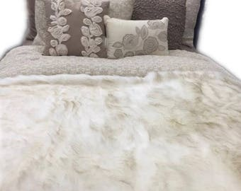 Bed throw, Faux fur bed throw and blanket, Ivory luxurious french faux fur, fur, bedspread, throw blanket, ultra plush, soft bed throw