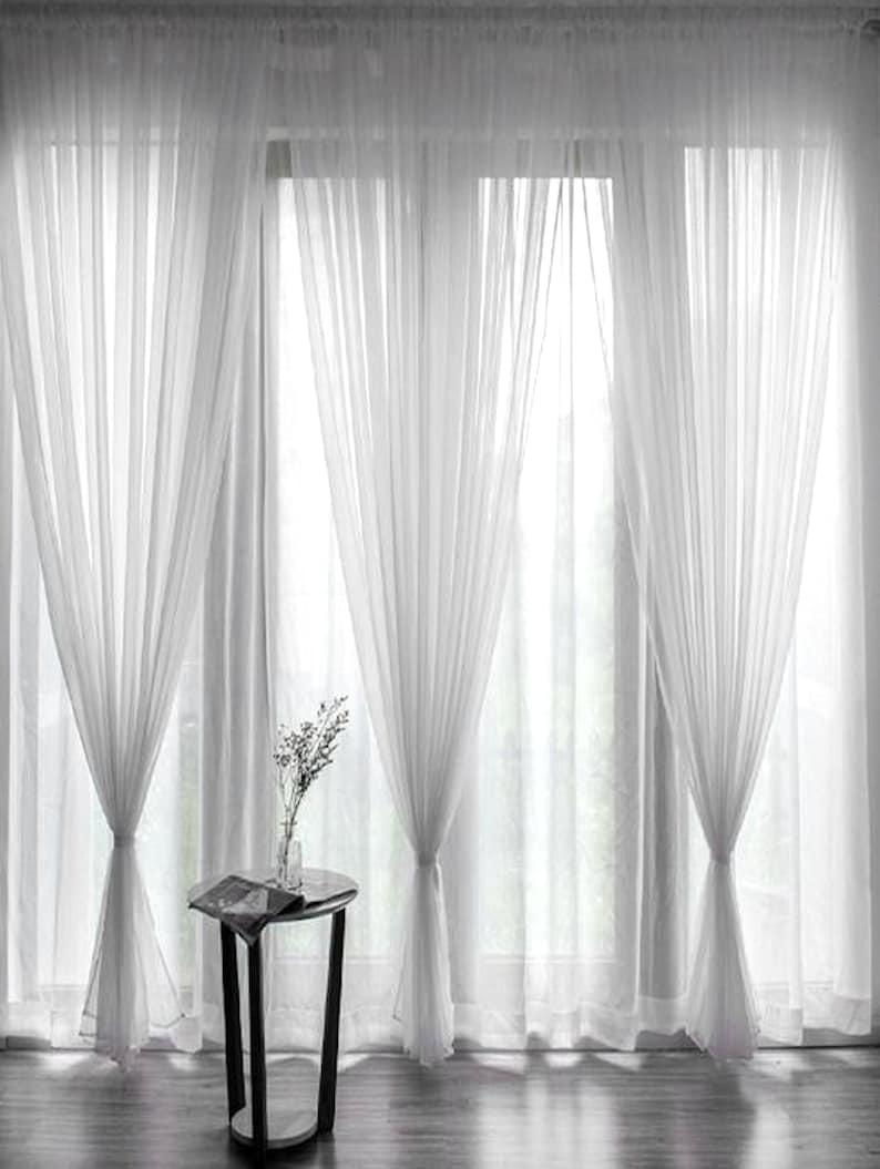 Voile Curtains Custom Window Curtain Panels Curtain Panels image 0