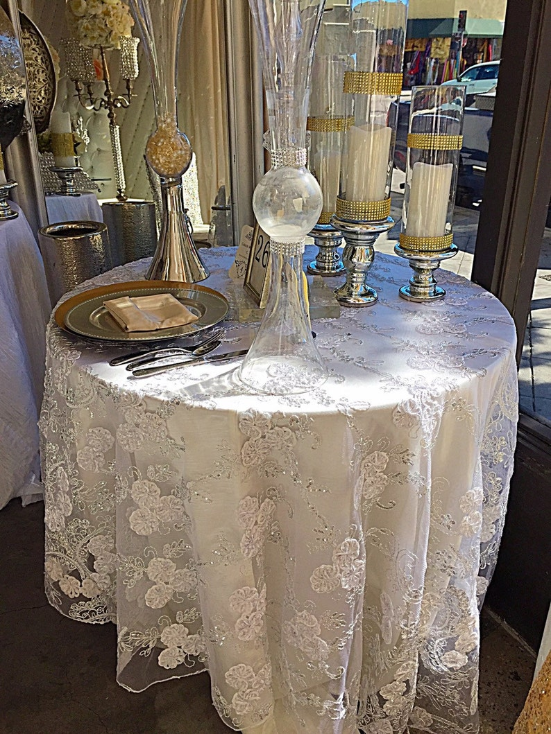 Enjoyable Wedding Tablecloth Vintage White Embroidered Lace Silver Sequence Overlay Lace Tablecloth Table Runner Gold Table Overlay Sale Download Free Architecture Designs Scobabritishbridgeorg