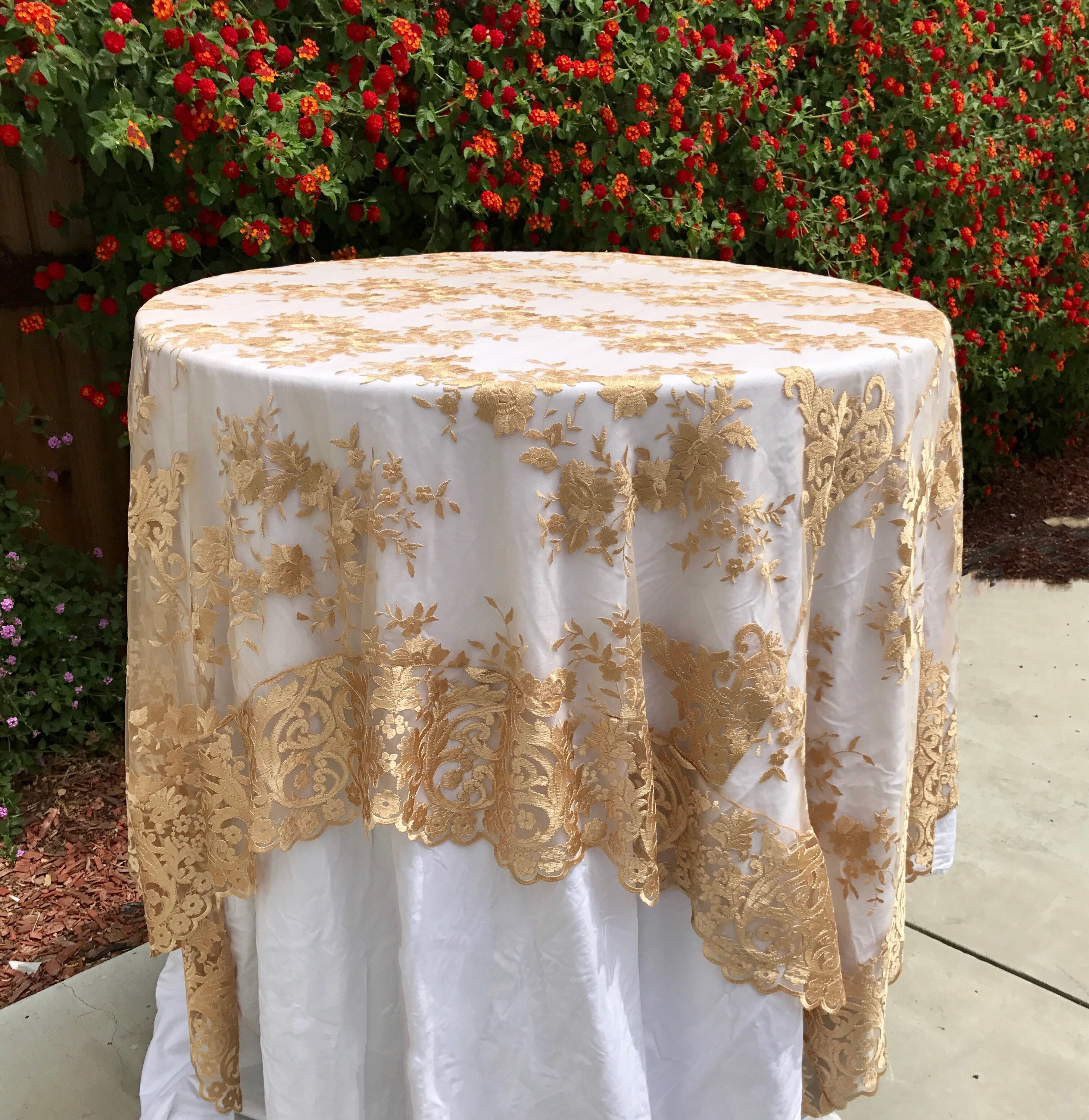 Lace Tablecloth Gold Table Overlay Lace Table Overlay