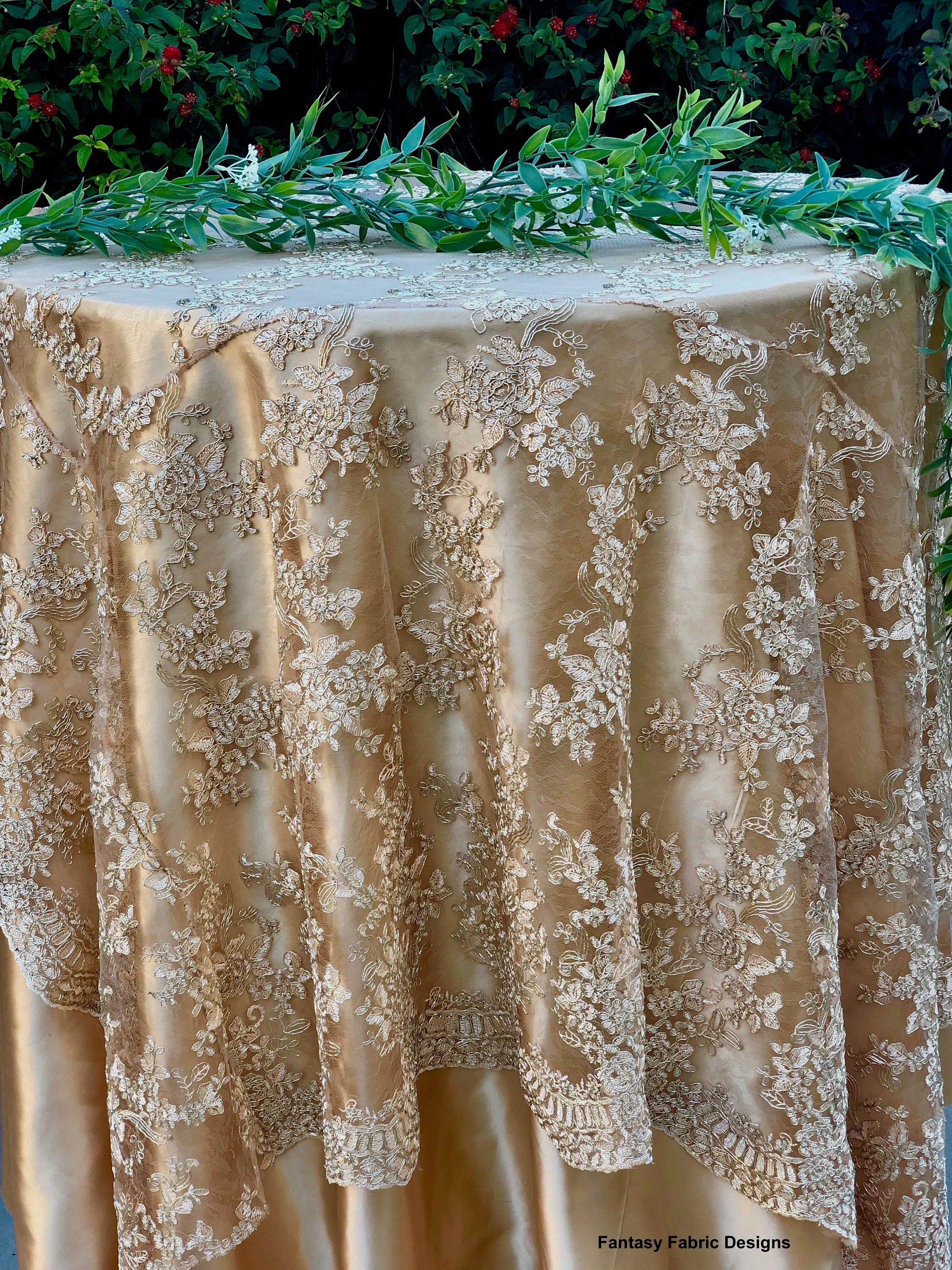 Vintage Wedding Table Cloth Gold Tablecloth Overlay Lace