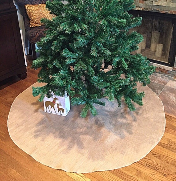 48 inch Christmas Tree Skirt Burlap with Ivory Lace