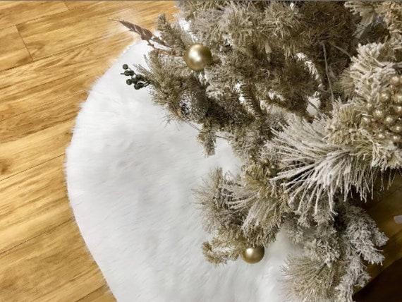 Faux Fur Christmas Tree Skirt White Faux Fur Tree Skirt Fur Etsy