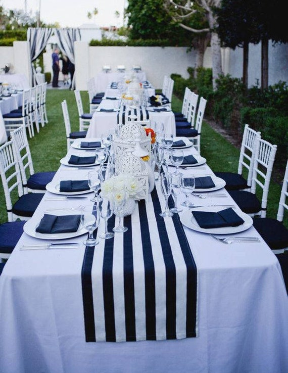 Striped Tablecloth Navy Blue And White Stripe Table Runner Cotton Stripped Wedding Tablecloth Nautical Black And White Beach Wedding