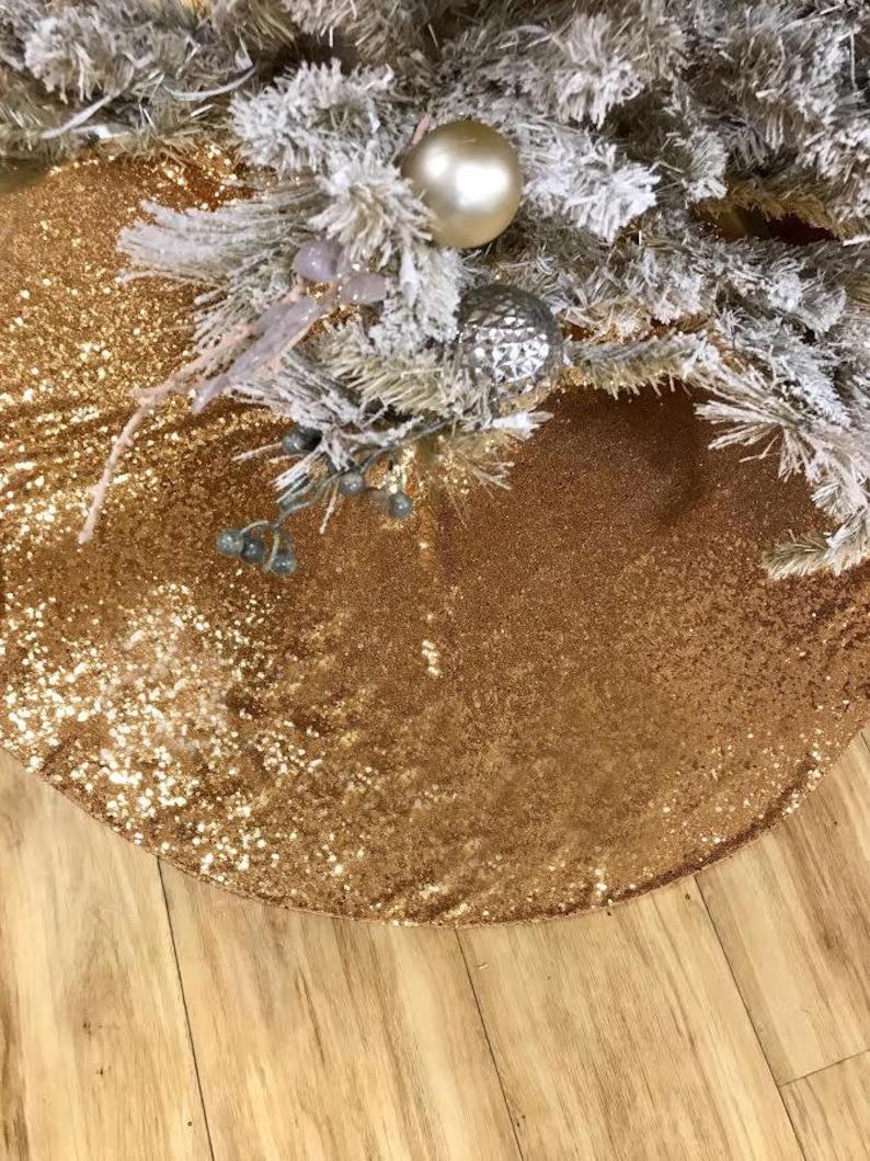 Sequin Tree Skirt Christmas Tree Skirt Gold Sequence Tree Skirt Sequence Christmas Tree Skirt Christmas Decor Christmas Tree Skirt