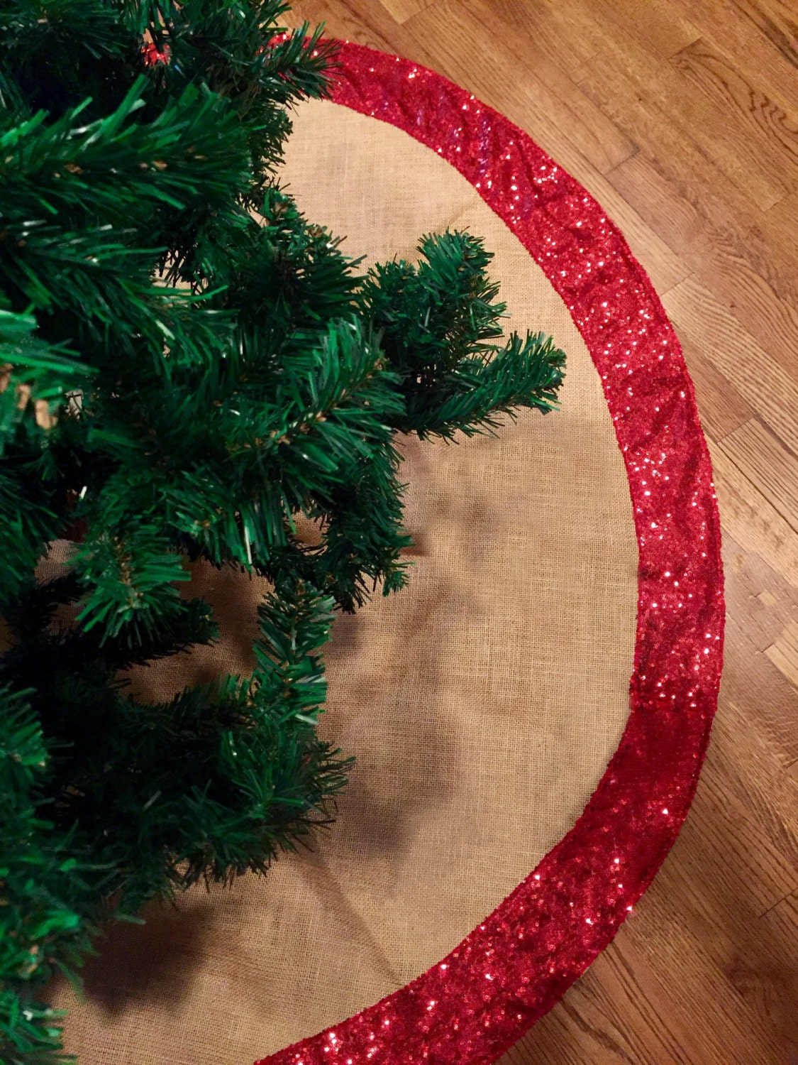 Christmas Tree Skirt Burlap And Gold Or Red Sequence Christmas Tree Skirt Tree Skirt 60 Inches Diam Christmas Decor Sequin Sequence