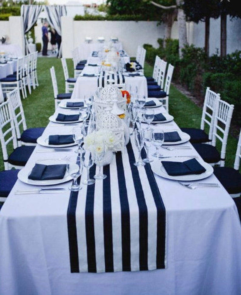 Awe Inspiring Navy Blue And White Striped Tablecloth Table Runner Cotton Stripped Wedding Tablecloth Nautical Black And White Beach Wedding Decor Home Interior And Landscaping Synyenasavecom