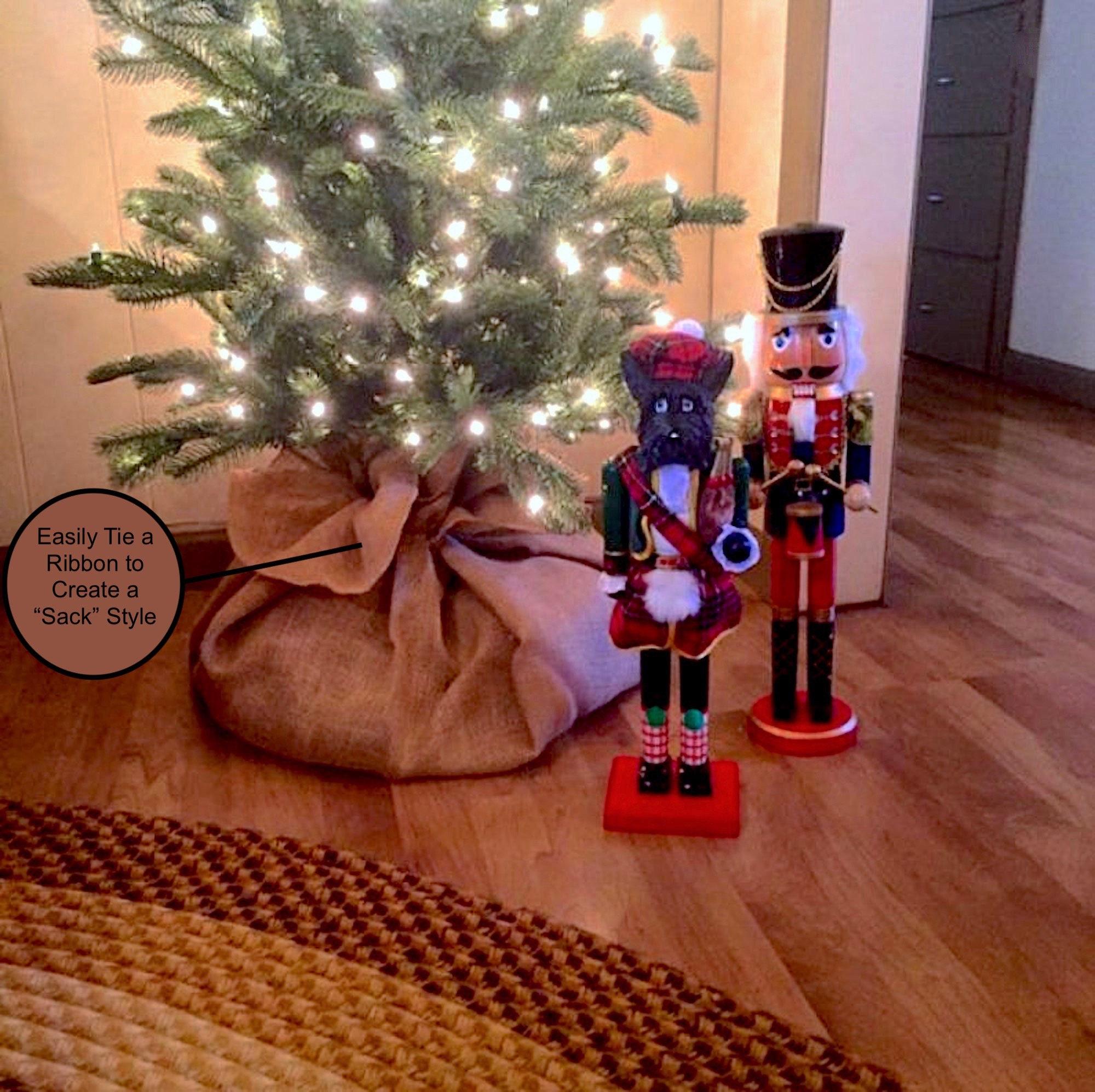 Burlap Christmas Tree Skirt Tree Sack Christmas Tree Skirt Tree Skirt Christmas Decor Tree Skirt Jute Burlap Rustic Decor Diff Sizes