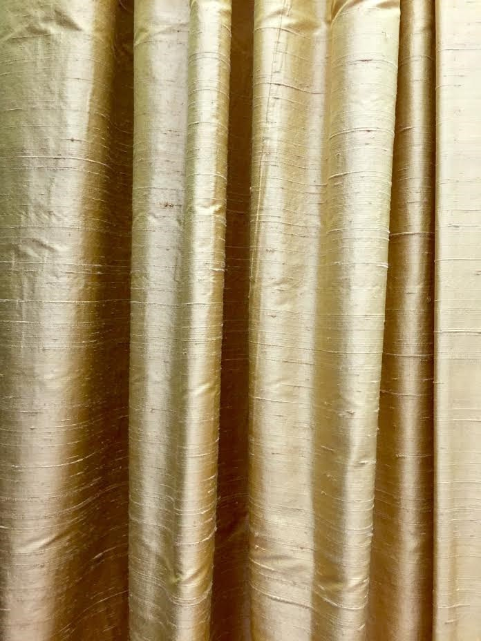 Well known window treatments, silk curtain panels, silk drapes, drapery, raw  WT03
