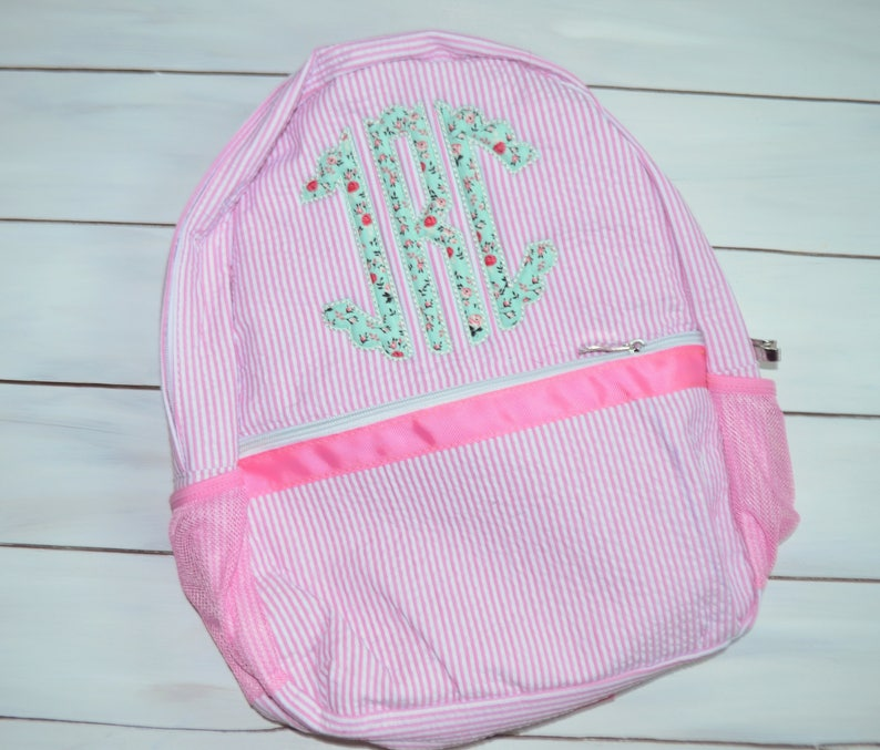 Monogrammed Seersucker Backpack  Scalloped Circle Monogram image 0