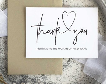 Thank You For Raising The Woman Of My Dreams, Bride Parents, Gift For Mother Of The Bride, Mom Card, Calligraphy Card, Modern Wedding Card
