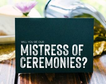 Mistress of Ceremonies Card Grey Wedding MC Card Wedding Party Modern Wedding Ceremony Bridal Party Gift Female MC for Reception