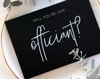 Card For Wedding Celebrant Modern BT Wedding Officiant Gift For Officiant Black and White Thank You For Marrying Us Wedding Day Cards